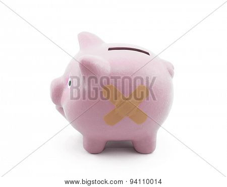 Sick piggy bank with clipping path