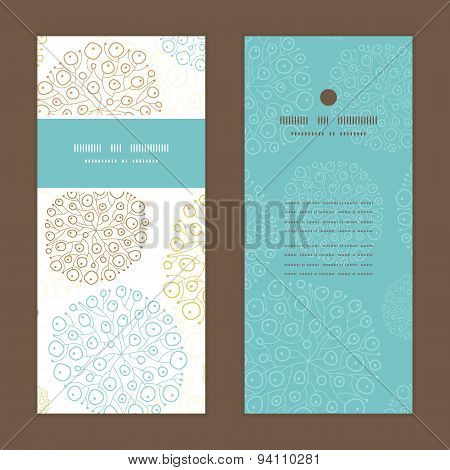 Vector blue brown abstract seaweed texture vertical frame pattern invitation greeting cards set