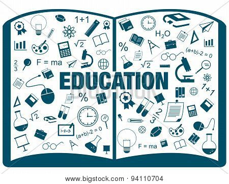 Silhouette Flat Linear Infographic Of Education Academic Text Book From Many Subject Such As Maths,