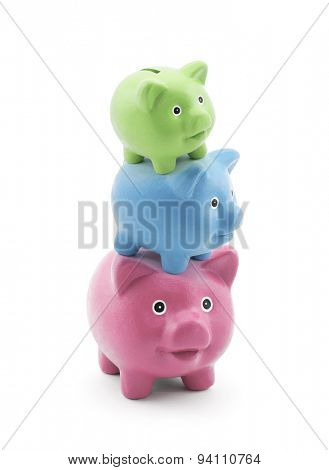 Stack of colorful piggy banks