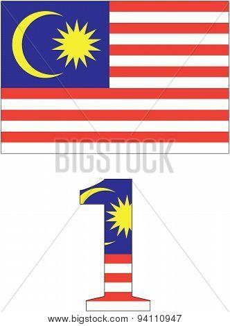Vector Malaysian Flag And 1 Malaysia Logo