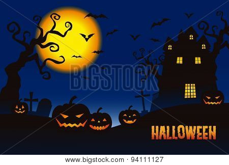 Halloween Pumpkins And A Haunted Mansion In Full Moon Night