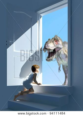 The boy and the dinosaur at the door.