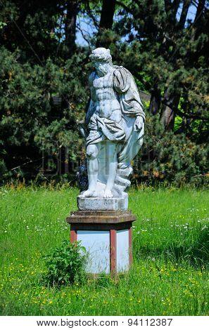 A Sculpture Of A Man In Palmen Garten, Frankfurt Am Main, Hessen, Germany