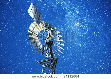 Stars and a windmill at night