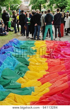 RIGA, LATVIA - JUNE 20: EuroPride 2015 parade in Riga on JUNE 20, 2015 Rainbow flag