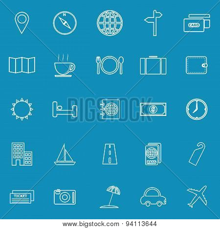Travel Line Icons On Blue Background