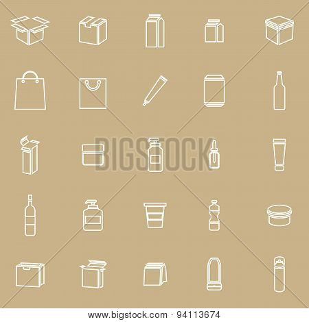 Packaging Line Icons On Brown Background
