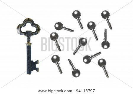 Old Big Vintage Forged Key Standing Out From The Crowd