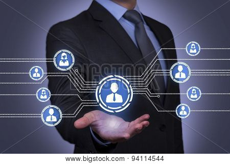 Connection Concept on Businessman Hand