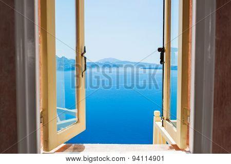 Open Window With Beautiful Sea View.