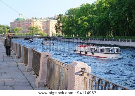 St. Petersburg, Russia, June, 7, 2015: boat on a Moika river in St. Petersburg