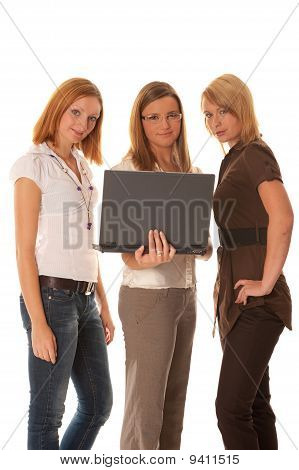 Great solution - Three business women with laptop happy with result