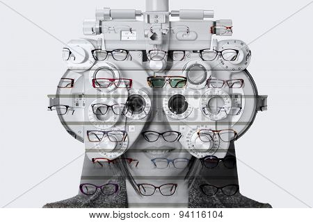 Double Exposure Phoropter And Exhibitor Of Glasses .