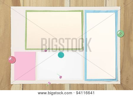 Vintage Paper And Fabric On Wooden Background