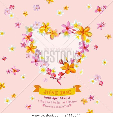 Baby Arrival Card with Photo Frame -Tropical Flowers Theme - in vector