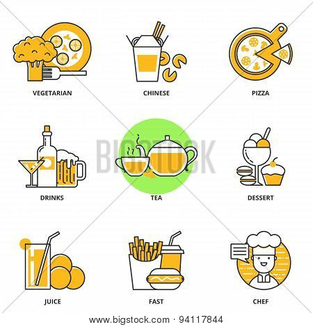 Food And Drink Vector Icons Set