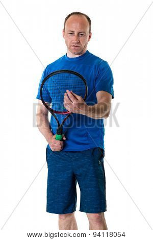 Adult male tennis player. Studio shot over white.