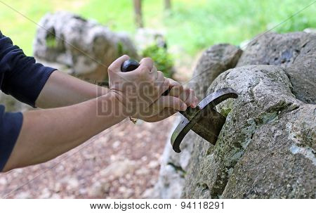 Hand And Excalibur The Famous Sword In The Stone