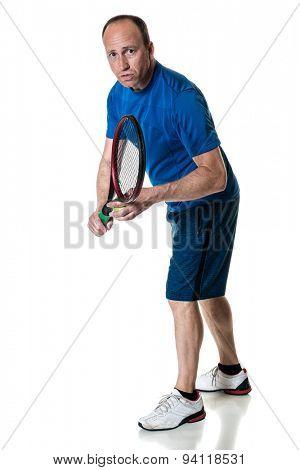 Tennis action shot. Serve. Studio shot over white.