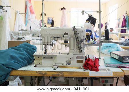 Interior of a garment factory shop