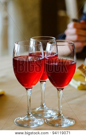 Colorful Fresh Red Cranberry Juice Close-up In The Restaurant, Sergiev Posad, Moscow Region, Russia