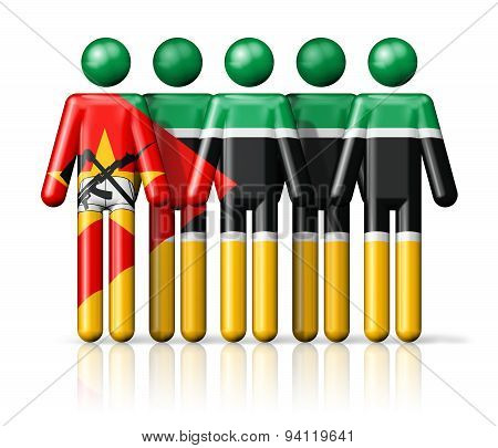 Flag Of Mozambique On Stick Figure