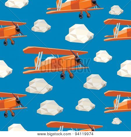 Low Polygon airplanes and clouds. Seamless Vector illustration.