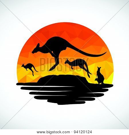 Animal of Wildlife Kangaroo low poly abstract vector
