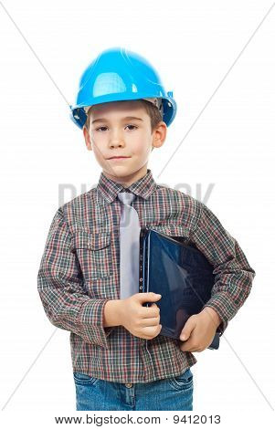 Small architect boy with laptop