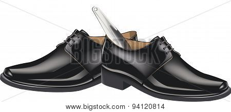 black shoes with shoehorn