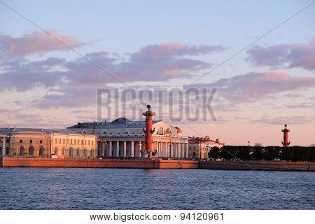 Landscape with the image of rostral columns near the Neva river in St. Petersburg, Russia,