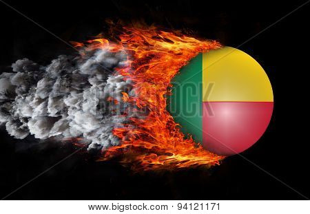 Flag With A Trail Of Fire And Smoke - Benin