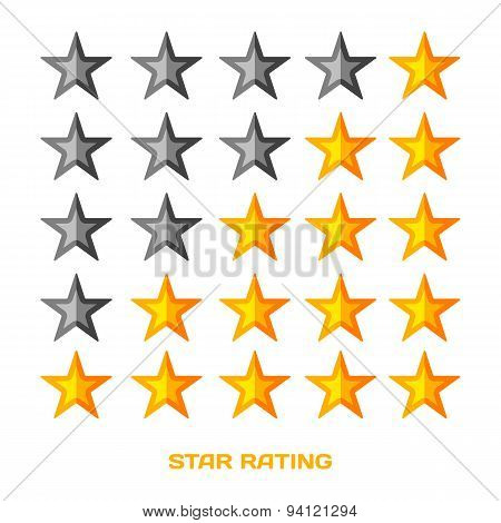 Five star rating. Flat style vektor illustration.