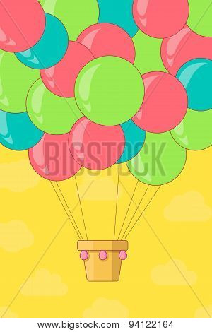 Vintage hot air balloon in the sky.Vector illustrationbackgroundgreeting card