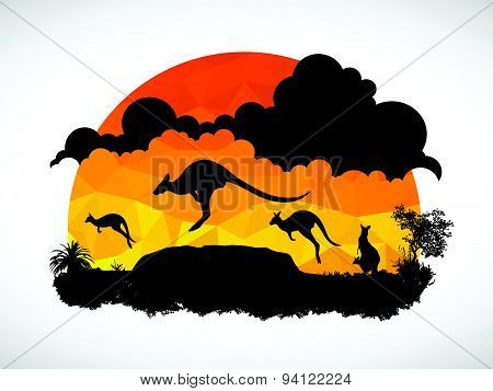 Animal of Wildlife Kangaroo low poly abstract vector