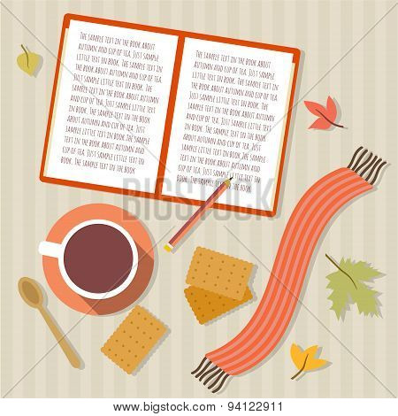 Book, cup of tea, cookies, scarf and autumn leaves