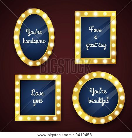 Vector set of mirrors with electric bulbs