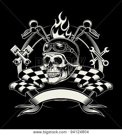 Vector biker emblem with skull or dead motorcycle racer
