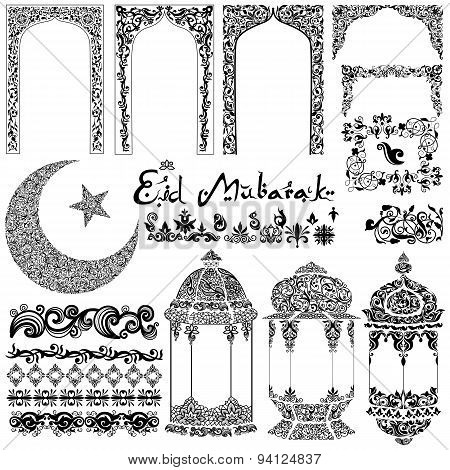 Eid Mubarak Arabic floral design
