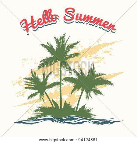 Handmade summer illustration with palm trees