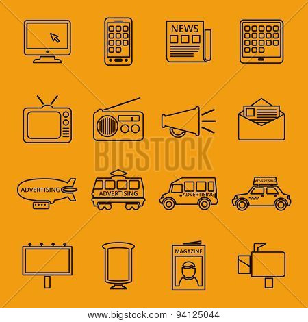 Advertisement and marketing line icons set