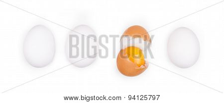 Fresh Egg Yolks Isolated On White Background
