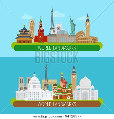 World landmarks banners