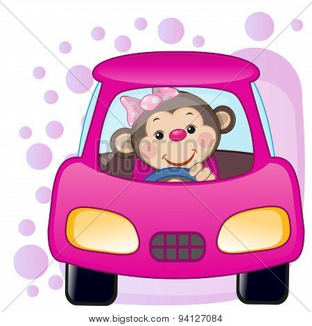 Monkey Girl In A Car