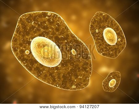 Amoeba on brown background. 3d render