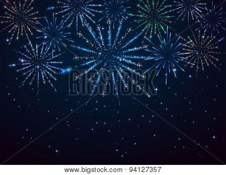Fireworks On Dark Background