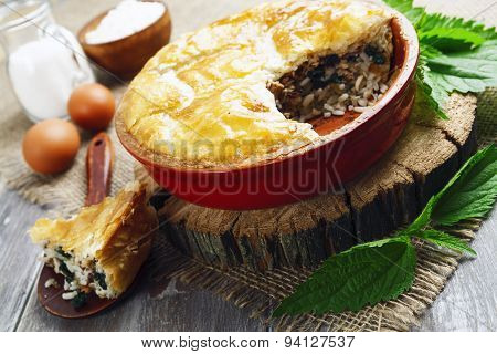 Pie Nettles, Rice And Canned Fish