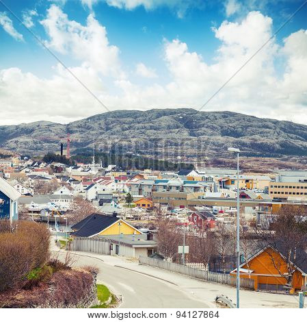 Norwegian Town With Colorful Wooden Houses