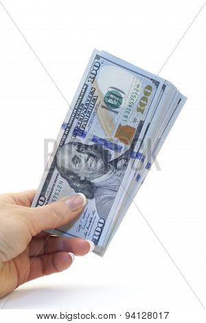 Dollars Bills In Hand